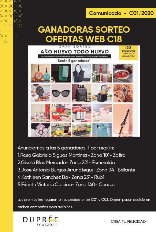 COMUNICADO- Sorteo web c18 ganadoras